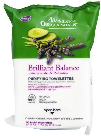 Brillilant Balance, With Lavender & Prebiotics, Purifying Towelettes, 30 Facial Towelettes by Avalon Organics-Skönhet, Ansiktsvård, Ansiktsservetter