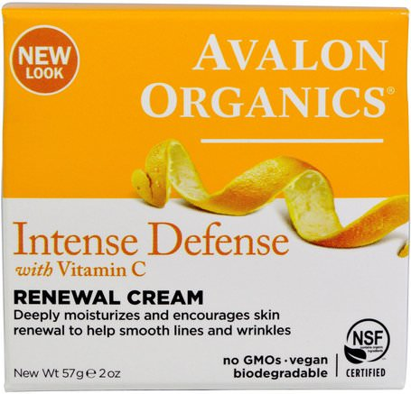 Intense Defense, With Vitamin C, Renewal Cream, 2 oz (57 g) by Avalon Organics-Skönhet, Ansiktsvård, Krämer Lotioner, Serum