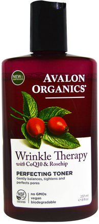 Wrinkle Therapy, With CoQ10 & Rosehip, Perfecting Toner, 8 fl oz (237 ml) by Avalon Organics-Skönhet, Ansiktsvård, Krämer Lotioner, Serum, Coq10 Hud