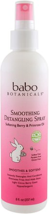 Smooth Detangling Spray, Berry Primrose, 8 fl oz (237 ml) by Babo Botanicals-Bad, Skönhet, Balsam, Barn Balsam, Barn Detangler