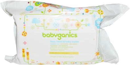 Face, Hand & Baby Wipes, Fragrance Free, 100 Wipes by BabyGanics-Barns Hälsa, Diapering, Barnservetter