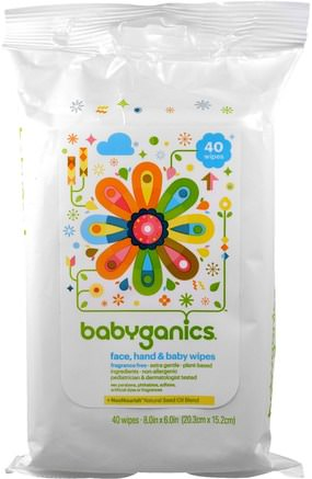 Face, Hand & Baby Wipes, Fragrance Free, 40 Wipes, (8.0 in x 6.0 in) Each by BabyGanics-Barns Hälsa, Diapering, Barnservetter