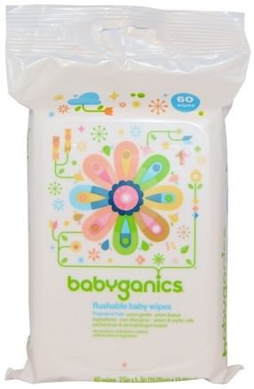 Flushable Baby Wipes, Fragrance Free, 60 Wipes by BabyGanics-Barns Hälsa, Diapering, Barnservetter