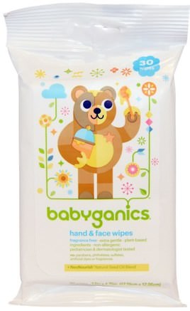 Hand & Face Wipes, Fragrance Free, 30 Wipes by BabyGanics-Barns Hälsa, Diapering, Barnservetter, Barnbad
