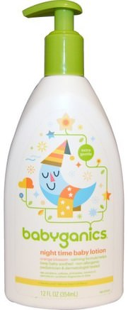 Night Time Baby Lotion, Orange Blossom, 12 fl oz (354 ml) by BabyGanics-Barns Hälsa, Diapering, Barnbad