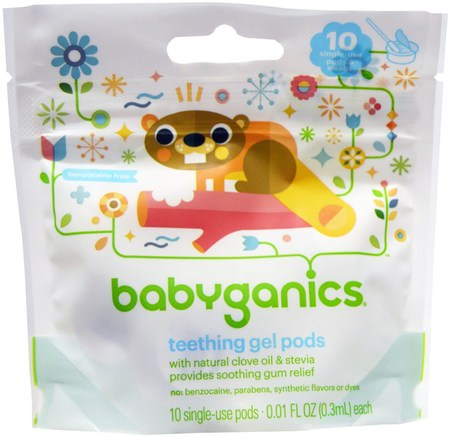 Teething Gel Pods, 10 Single-Use Pods, 0.01 fl oz (0.3 ml) Each by BabyGanics-Barns Hälsa, Barnsjukdomar