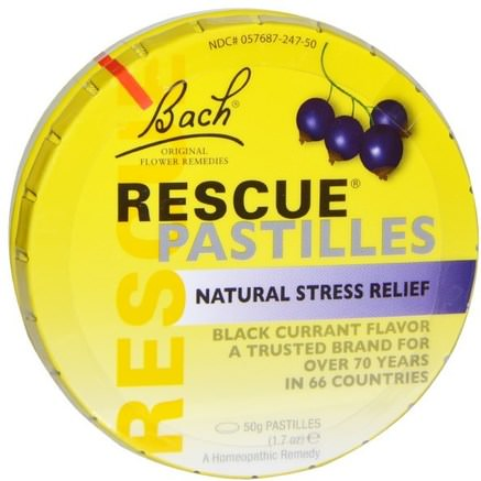 Original Flower Remedies, Rescue Pastilles, Natural Stress Relief, Black Currant Flavor, 1.7 oz (50 g) by Bach-Kosttillskott, Homeopati, Bach Ursprungliga Blomma Essenser Räddning
