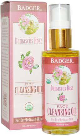 Damascus Rose Face Cleansing Oil, For Dry/Delicate Skin, 2 fl oz (59.1 ml) by Badger Company-Skönhet, Ansiktsvård, Ansiktsrengöring
