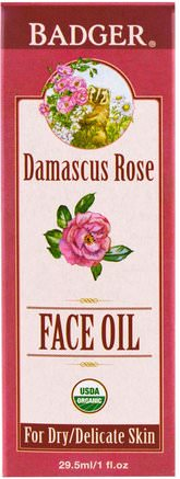 Face Oil, Damascus Rose, 1 fl oz (29.5 ml) by Badger Company-Skönhet, Ansiktsvård