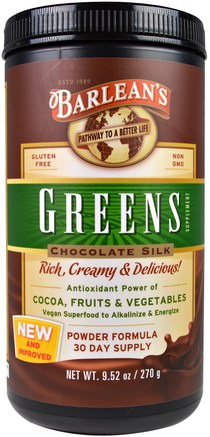 Greens, Powder Formula, Chocolate Silk, 9.52 oz (270 g) by Barleans-Kosttillskott, Superfoods, Barleans Greener