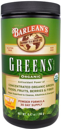 Greens, Powder Formula, Organic 8.47 oz (240 g) by Barleans-Kosttillskott, Superfoods, Barleans Greener