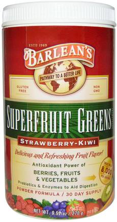 Superfruit Greens Supplement, Powder Formula, Strawberry-Kiwi, 9.52 oz (270 g) by Barleans-Kosttillskott, Fruktkomponenter, Superfrukt, Barleansgröna