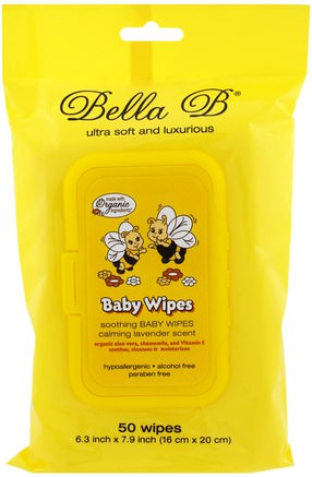 Baby Wipes, Calming Lavender Scent, 50 Wipes - 6.3 inch X 7.9 inch by Bella B-Barns Hälsa, Diapering, Barnservetter