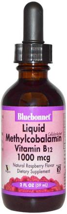Liquid Methylcobalamin Vitamin B12, Natural Raspberry Flavor, 1000 mcg, 2 fl oz (59 ml) by Bluebonnet Nutrition-Vitaminer, Vitamin B, Vitamin B12, Vitamin B12 - Metylcobalamin, Vitamin B12 - Vätska