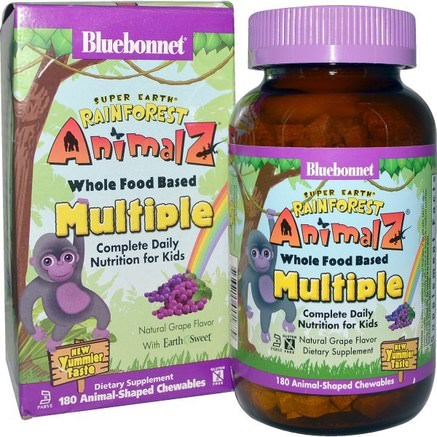Rainforest Animalz, Whole Food Based Multiple, Natural Grape Flavor, 180 Chewables by Bluebonnet Nutrition-Vitaminer, Multivitaminer, Barn Multivitaminer