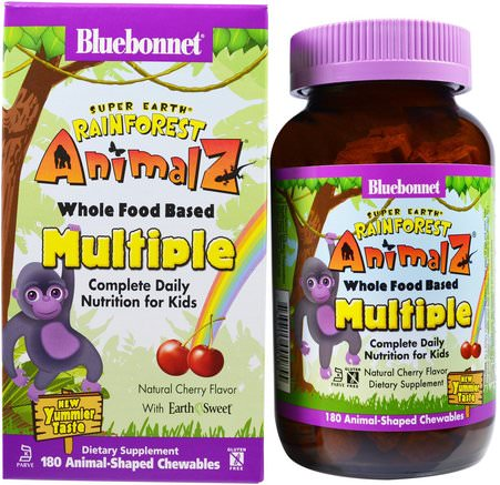 Super Earth, Rainforest Animalz, Whole Food Based Multiple, Natural Cherry Flavor, 180 Chewables by Bluebonnet Nutrition-Vitaminer, Multivitaminer, Barn Multivitaminer
