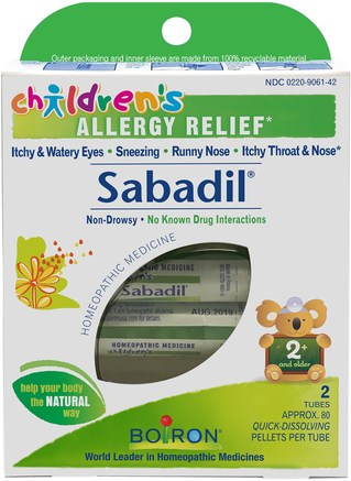 Childrens Sabadil, Allergy Relief, 2 Tubes, Approx. 80 Pellets Per Tube by Boiron-Kosttillskott, Homeopati, Allergier, Allergi
