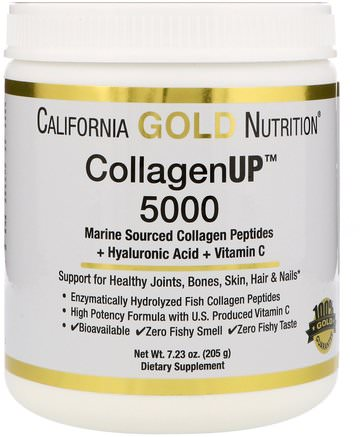 CGN, CollagenUP 5000, Marine Sourced Collagen Peptides + Hyaluronic Acid + Vitamin C, 7.23 oz (205 g) by California Gold Nutrition-Cgn Kollagenup, Anti-Åldrande