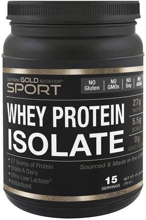 CGN, Instantized Whey Protein Isolate, Ultra-Low Lactose, Unflavored, 1 lb, 16 oz (454 g) by California Gold Nutrition-Kosttillskott, Vassleprotein, Sport, Sport