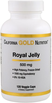 CGN, Royal Jelly, 500 mg, 120 Veggie Caps by California Gold Nutrition-Cgn Royal Gelé, Tillskott, Royal Gelé