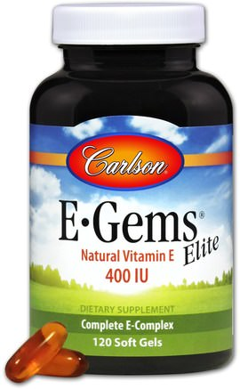 E-Gems Elite, Natural Vitamin E, 400 IU, 120 Soft Gels by Carlson Labs-Vitaminer, Vitamin E, 100% Naturligt Vitamin E