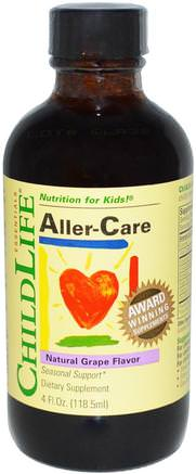 Essentials, Aller-Care, Natural Grape Flavor, 4 fl oz (118.5 ml) by ChildLife-Hälsa, Allergier, Allergi, Barns Hälsa, Kosttillskott Barn