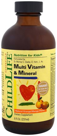 Essentials, Multi Vitamin & Mineral, Natural Orange/Mango Flavor, 8 fl oz (237 ml) by ChildLife-Vitaminer, Multivitaminer, Barn Multivitaminer, Flytande Multivitaminer
