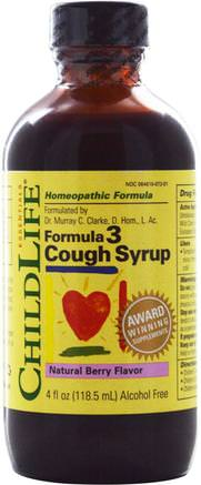 Formula 3, Cough Syrup, Natural Berry Flavor, 4 fl oz (118.5 ml) by ChildLife-Kosttillskott, Homeopati, Kall Influensav Hosta