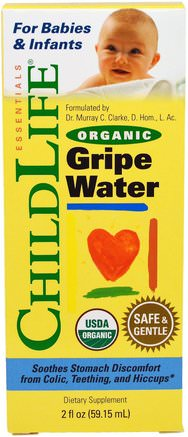 Organic Gripe Water, 2 fl oz (59.15 ml) by ChildLife-Barns Hälsa, Gripe Vatten Kolik, Baby Tänder