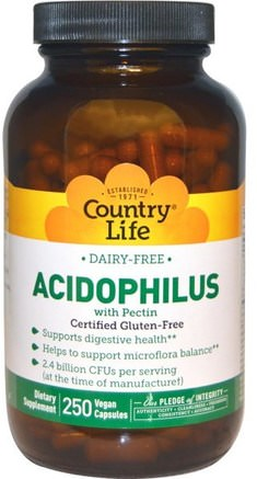 Acidophilus with Pectin, 250 Veggie Caps by Country Life-Kosttillskott, Probiotika, Acidophilus