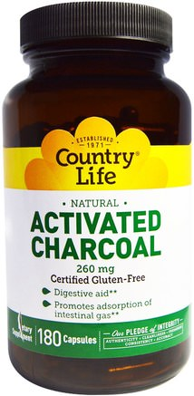 Activated Charcoal, 260 mg, 180 Capsules by Country Life-Kosttillskott, Mineraler, Aktivt Kol