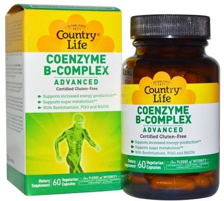 Coenzyme B-Complex, Advanced, 60 Vegetarian Capsules by Country Life-Vitaminer, Vitamin B-Komplex, Koenzymerat B-Komplex