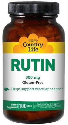 Rutin, 500 mg, 100 Tablets by Country Life-Kosttillskott, Antioxidanter, Rutin, Vitaminer