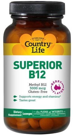 Superior B12, Berry Flavor, 3000 mcg, 120 Sublingual Lozenges by Country Life-Vitaminer, Vitamin B12