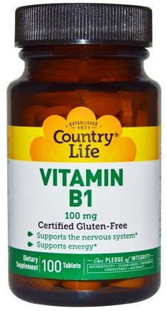 Vitamin B1, 100 mg, 100 Tablets by Country Life-Vitaminer, Vitamin B1-Tiamin