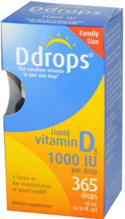 Liquid Vitamin D3, 1000 IU, 0.34 fl oz (10 ml) by Ddrops-Vitaminer, Vitamin D3, Vitamin D3 Vätska