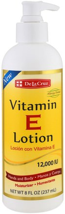 Vitamin E Lotion, 12.000 IU, 8 fl oz (237 ml) by De La Cruz-Skönhet, Ansiktsvård, Bad