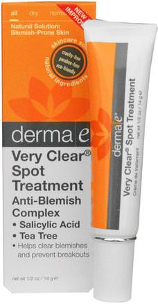 Very Clear Spot Treatment Anti-Blemish Complex, 1/2 oz (14 g) by Derma E-Skönhet, Akne Aktuella Produkter, Ansiktsvård, Krämer Lotioner, Serum
