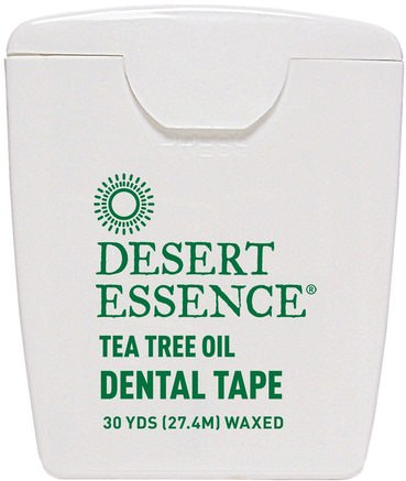 Dental Tape, Tea Tree Oil, Waxed, 30 Yds (27.4 m) by Desert Essence-Bad, Skönhet, Oral Tandvård, Tandvård, Munhygienprodukter