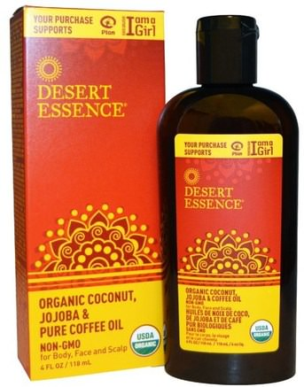 Organic Coconut, Jojoba & Pure Coffee Oil, 4 fl oz (118 ml) by Desert Essence-Hälsa, Hud, Bad, Skönhet Oljor, Kroppsvård Oljor, Ansiktsvård Oljor