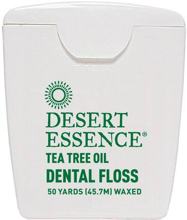 Tea Tree Oil Dental Floss, Waxed, 50 Yds (45.7 m) by Desert Essence-Bad, Skönhet, Oral Tandvård, Tandvård, Munhygienprodukter