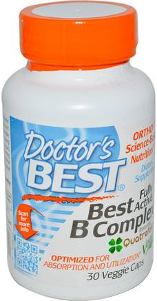 Best Fully Active B Complex, 30 Veggie Caps by Doctors Best-Vitaminer, Vitamin B-Komplex