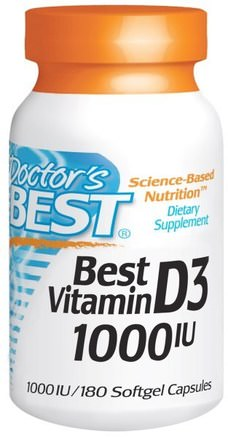 Best Vitamin D3, 1000 IU, 180 Softgels by Doctors Best-Vitaminer, Vitamin D3