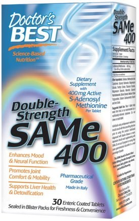 SAM-e, 400 mg, Double-Strength, 30 Enteric Coated Tablets by Doctors Best-Hälsa, Missbruk, Missbruk, Sam-E (S-Adenosylmetionin), Sam-E 400 Mg