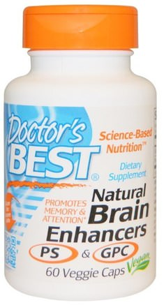 Natural Brain Enhancers PS & GPC, 60 Veggie Caps by Doctors Best-Kosttillskott, Fosfatidylserin, Alfa Gpc (Glycerofoskolin)