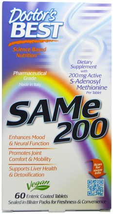 SAM-e, 200 mg, 60 Enteric Coated Tablets by Doctors Best-Hälsa, Missbruk, Beroende, Sam-E (S-Adenosylmetionin), Sam-E 200 Mg