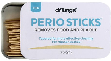 Perio Sticks, Plaque Removers, Thin, 80 Sticks by Dr. Tungs-Bad, Skönhet, Oral Tandvård, Munhygienprodukter