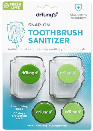 Snap-On Toothbrush Sanitizer, Fresh Lime, 1.600 mg by Dr. Tungs-Bad, Skönhet, Oral Tandvård, Tandborstar, Munhygienprodukter