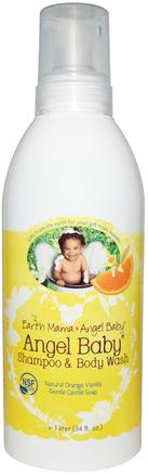 Angel Baby Shampoo & Body Wash, Natural Orange Vanilla, 34 fl oz (1 l) by Earth Mama Angel Baby-Barns Hälsa, Barnbad, Schampo, Barnschampo