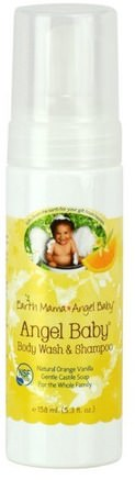 Angel Baby Shampoo & Body Wash, Natural Orange Vanilla, 5.3 fl oz (160 ml) by Earth Mama Angel Baby-Barns Hälsa, Barnbad, Schampo, Barnschampo